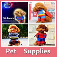 batman dog shirt - Halloween Clothes Pet Dog Puppy Superman Batman Spiderman Hero Costume Cosplay Cat Outfit For Types