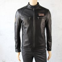 Wholesale Men s leather slim jackets Harley man with the Goat Sheepskin leather soft and comfortable leisure genuine leather jacket