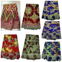 Wholesale Newest African WAX Net LACE FABRIC embroidery yard with high quality best price production for dress
