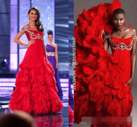 art universe - Miss Universe Luxury Beaded Feather Arabic Evening Pageant Dresses Empire Waist Off Shoulder Tiered Skirt Red Prom Gowns Formal Wear