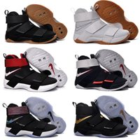 Wholesale Cheap Plaid Tops - 2016 Top quality lebron 10 Soldiers Men's Basketball Shoes for Cheap Sale 10s James Sports Training Sneakers Kids Size 40-46 Free Shipping