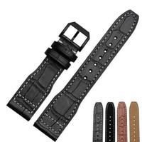 Noir / brun bambou grain / lisse en cuir véritable bracelet en cuir pour Portugal pilotes en cuir véritable 22mm Montre Band