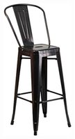 barstool black - 30 quot High Black Antique Gold Metal Indoor Outdoor Barstool NEW
