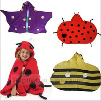 beetle cottons - Baby Bath Towels Animal Print Robes Beetle Bathrobe Cartoon Poncho Blankets Cotton Hooded Cloak Pajamas Sleepwear Bath Gown Nightgown B1011