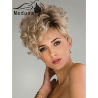 Wholesale New arriveree shipping Asymmetric pixie styles Synthetic pastel wigs for women Short curly blonde wig Peruca loira