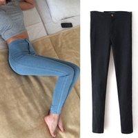 Wholesale Women Slim Skinny High Waist American Woman Blue Denim Pencil Pants Women ripped Jeans Black Pants Calca Feminina EF0335