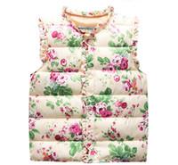 Wholesale Children s clothing kids autumn spring winter baby girls vests flower print outerwear wadded jacket vest