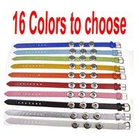 belt slide buckle - PU leather Belt Buckle Designe Watch Strap Watchbands Wristband bracelets Noosa Mini Snap Button mm Chunks Ginger Snap Bracelets