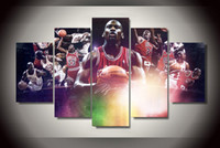 basketball picture frames - 5 Panel HD Printed basketball star Painting on canvas room decoration print poster picture canvas framed canvas painting art