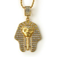 avatar pendant - Fashion Men Chain Necklace k Gold Plated Jewelry Pharaoh Avatar Pendant Punk Rock Hip Hop Mens Long Necklaces