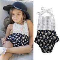 Wholesale Baby Girls Floral Dot Romper Dresses Euro America Prevail Baby Boutique Clothing Little Girls Fashion Jumpsuit Dresses Back Bow Tie