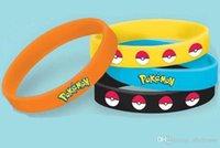 Wholesale Poke Ball Silicone Bracelets toys color Children Poke Ball Sylveon Pikachu Charmander Bulbasaur Jeni turtle Bracelets