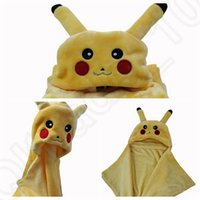 baby lounge - Fleece Pikachu blanket Baby Cape Cartoon Poke Anime Cute Kawaii Hooded Coplay Cloak Wrap Air condition Lounged Blankets LJJO816