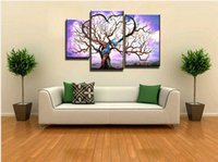 art deco oil paintings - 3 piece abstract modern canvas wall art decorative tree of life lily picture oil painting on canvas for living room home deco