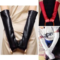 Wholesale Hot Fashion New Women Ladies Winter Opera Evening Party Long Pu Leather Gloves Over Elbow Arm White Gloves Mittens Cheap Z1