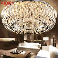Wholesale flush mount K9 crystal modern minimalist lamp living room remote control lamps High end European style chandelier
