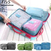 leather duffel bags - 6PCS Travel Luggage Bag Set Clothes Organizer Large Medium Small Size Pouch Handbag Suitcase