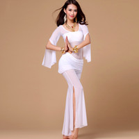 belly dance bells - Bollywood Dance Costumes Sexy Belly Dance Dancing Gauze Transparent Tops Bell Botoms Pants Wear colors Dance Skirt Pants