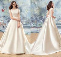 Wholesale Short Peplum Bridal Dresses - Modest Wedding Dresses Vintage Simple Short Capped Sleeves Scoop Wedding Gowns A-Line Back Zipper With Bow Custom Made Peplum Bridal Dresses