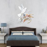 art glass birds - Three Dimensional High Quality DIY Modern Bird Tree Flowers Acrylic Mirror Wall Stickers Home Decor Decal Art Modern Design