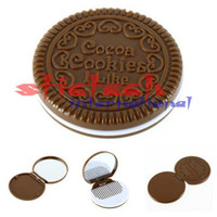 Wholesale by dhl or ems Portable Cute Cookie Shaped Design Pocket Mirror Makeup Chocolate Comb