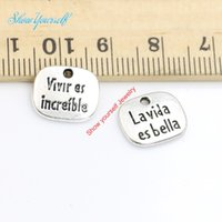 antique es - 20pcs Antique Silver Plated la vida es bella Charms Pendants for Necklace Jewelry Making DIY Handmade Craft x13mm