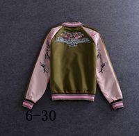 basic design patterns - 2016 autumn women fashion Eagle Embroidery bomber jacket basic red coats brand luxury design jackets high quality womens outwear female coat