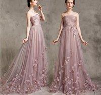 Wholesale Blush wed dress handmade floral strapless a line wed dress prom evening Zuhair Murad dress