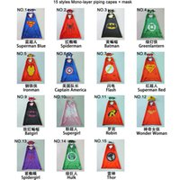 Wholesale 70 CM Double Side kids Superhero Cape Batman Ironman Ninja Turtles Spiderman Captain America Supergirl kids capes with mask in stock