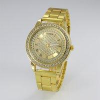 al por mayor ginebra diamantes reloj de cuarzo-adicolo comercio exterior del reloj de Ginebra del diamante lleno de diamantes reloj de oro de la moda del reloj de acero del cuarzo del reloj de Ginebra al por mayor el envío libre