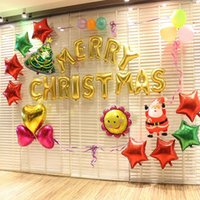 Wholesale Tissue Box Hot inch Gold silver Letters Merry Christmas Aluminum Foil Balloon Helium Letter Ballons for Xmas Party Baloes set Balao