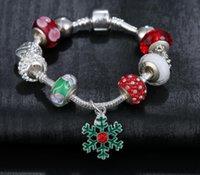 beaded christmas gifts - NEW Christmas Gift Silver Charm Beads snow pendant Bracelets For Women Diy Crystal Beads Bracelets Bangles Pulsera CC774