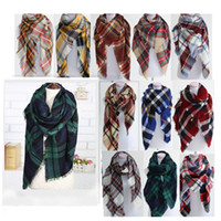 acrylic scarves - 2016 Women Winter Plaid Scarf Tartan Scarf women Shawl Scarf Scarves Wraps christmas Warm Soft Winter Blanket Pashmina Scarf Oversized