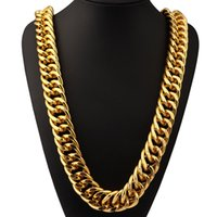 aluminum necklaces - Aluminum K Gold Plated Extra coarse Long Chains Exaggerated Necklace Hip Hop Jewelry Hip hop Singer Street Dance Hipster Men Women Joyas