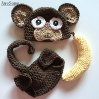 baby banana costume - Novelty Monkey Costume Handmade Knit Crochet Baby Boy Girl Animal Hat with Ears Diaper Cover and Banana Set Newborn Photography Prop