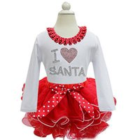 Wholesale Red White Dot Girls Dress Full Sleeve with Ribbon Bow and sequins Baby Girls I love santa Layered Dress Size GI2107