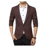 Wholesale New Fashion High Grade Cutton Plaid Blazer Luxury Imported Fabric Casual Coat Slim Fit Stripe Male Clothing European Style