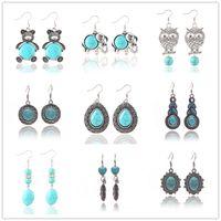 bear turquoise jewelry - DHL Free Vintage Bohemian Fasion Earrings Elephant Owl Bear Retro Silver Turquoise Eardrop New Fasion Jewelry