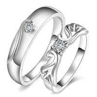 al por mayor artículos de regalo-925 artículos de joyería de plata anillos de boda de la vendimia de la flor par talla del regalo del amante de la nueva llegada ajustable