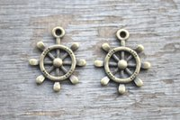 antique steering wheels - 15pcs Rudder charms Antique bronze Lovely Rudder Steering Wheel Charm Pendant mm