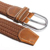 Vente en gros-HOT! Unisex Hommes Femmes stretch Tresse élastique cuir boucle de ceinture ceinture marron