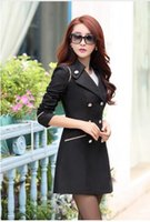 Wholesale New Arrival Spring Coat Fashion Trench Coat Women Medium Long Outerwear Slim Women Double Breasted Trench
