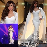 art deco styles - 2016 Dubai Style With Cape Mermaid Evening Dresses Long Sleeve Appliques Beaded Sweep Train Fashion Special Occasion Gown Prom Dress Custom