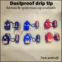 Wholesale Resin drip tips proof dust driptip batman spiderman dustproof chuff cap drip tip for e cigs aspire kangertech joyetech eleaf atomizers