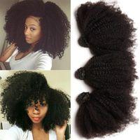 afro kinky weft - 7A Brazilian Hair Bundles Afro Kinky Curly Hair Natural Black color Peruvian Malaysian Indian Human Hair Weaves