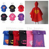 wholesale rain ponchos - Kids Superhero Raincoat Superman Batman Rain Coat Spiderman Supergirl Rainwear Batgirl Spidergirl Rainsuit Waterproof Poncho Rain Cape B12