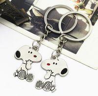achat en gros de publicité chien-publicité Dog Snoopys Peanut Keychain Porte-clés Mignon Creative Lovers cadeaux Porte-clés Couple Keychain Anneaux Snoopy