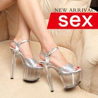 Wholesale The model T stage shows dress shoes Silver crystal shoe cm authentic leather ladies sandals Transparent stiletto heels