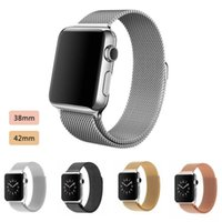 Wholesale Milanese Loop magnetic band Link Bracelet Stainless steel strap for apple watch mm mm Watchband Gold Rose Gold Silver Black With Box