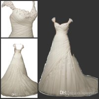 Wholesale Elegant Capped Sleeves Princess Wedding Dresses Tulle Sweetheart A line Appliques with Crystal Bridal Gown vestido de noiva